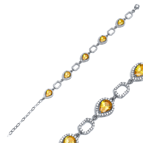 Geometric Style Citrine Stone Rhodium Plated Charm Bracelet Handmade Wholesale Turkish 925 Sterling Silver Jewelry