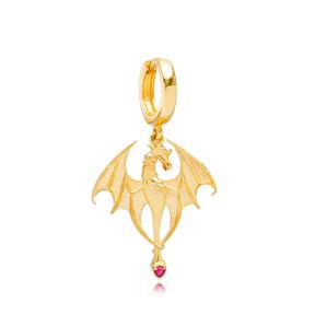 Dragon Ruby Stone Charm 12mm Hoop Single Earrings Handmade Turkish Wholesale 925 Sterling Silver Jewelry
