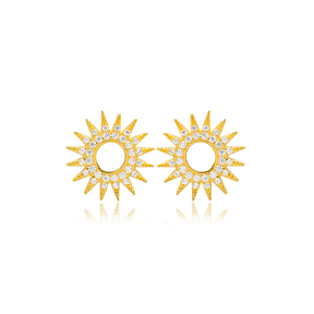 Trend Sun Design Handcrafted Turkish Wholesale 925 Sterling Silver Stud Earrings Jewelry