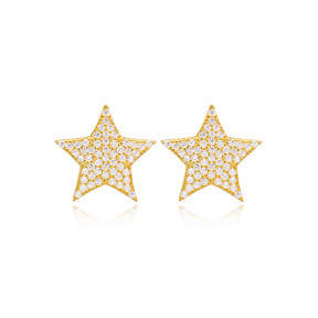 Dainty Star Shape Zircon Design Handcrafted Turkish Wholesale 925 Sterling Silver Stud Earrings Jewelry