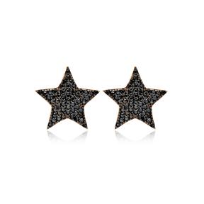Black Star Zircon Design Stud Earrings Handcrafted Turkish Wholesale 925 Sterling Silver Jewelry