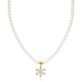 Flower Charm Pearl Choker Necklace Theia Wholesale 925 Sterling Silver Jewelry