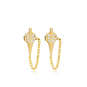 Arrow Link Chain Design Stud Earrings Handcrafted Turkish Wholesale 925 Sterling Silver Jewelry