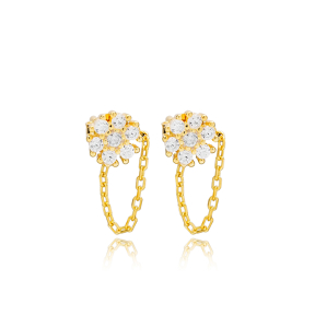 Flower Zircon Stone Link Chain Design Handcrafted Turkish Theia Wholesale 925 Sterling Silver Stud Earrings Jewelry