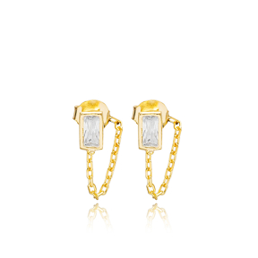 Rectangle Zircon Stone Link Chain Design Handcrafted Turkish Theia Wholesale 925 Sterling Silver Stud Earrings Jewelry