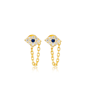 Lucky Evil Eye Link Chain Stud Earrings Handcrafted Turkish Theia Wholesale 925 Sterling Silver Jewelry