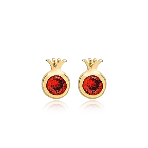 Pomegranate Garnet Stone Stud Earrings Handcrafted Turkish Theia Wholesale 925 Sterling Silver Jewelry