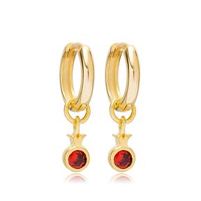 Fruit Pomegranate 12mm Hoop Dangle Earrings Handmade Turkish Wholesale 925 Sterling Silver Jewelry