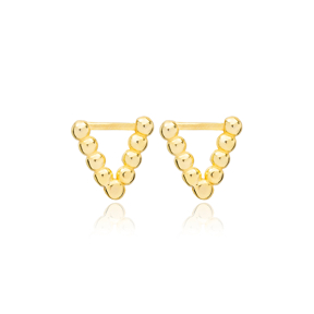 Triangle Geometric Style Stud Earrings Handcrafted Turkish Theia Wholesale 925 Sterling Silver Jewelry