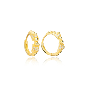 Minimalist Triangle Style Hoop Earrings Handcrafted Turkish Theia Wholesale 925 Sterling Silver Jewelry