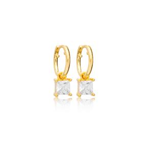 Square Zircon Stone 13mm Hoop Dangle Earrings Handmade Turkish Wholesale 925 Sterling Silver Jewelry