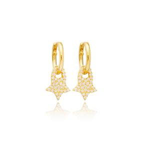 Unique Star  Zircon Stone Charm Dangle Earrings Handmade Turkish Wholesale 925 Sterling Silver Jewelry