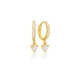 Round Geometric Zircon Stone Charm Dangle Earrings Handmade Turkish Wholesale 925 Sterling Silver Jewelry