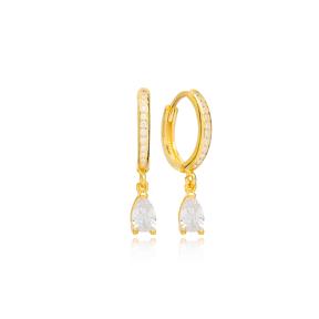 Drop Zircon Stone Charm Handmade Turkish Wholesale 925 Sterling Silver Dangle Earrings Jewelry