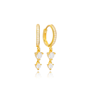 Double Round Zircon Stone Charm Handmade Turkish Wholesale 925 Sterling Silver Dangle Earrings Jewelry