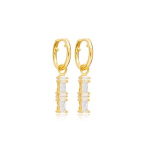 Double Rectangle Zircon Stone Charm Dangle Earrings Handmade Turkish Wholesale 925 Sterling Silver Jewelry