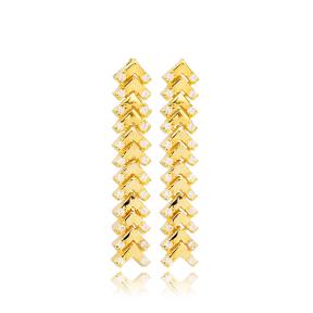 Arrow Point Zircon Stone Detailed Stud Long Earrings Turkish Wholesale Handmade 925 Sterling Silver Jewelry