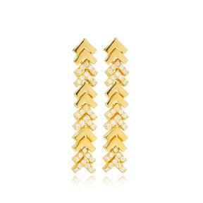 Fishbone Design Zircon and Plain Long Earrings Turkish Wholesale 925 Sterling Silver Jewelry
