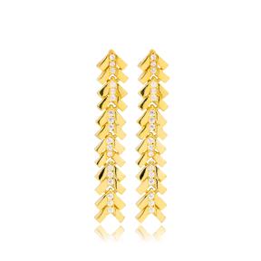 Chic Arrow Point Design Zircon Stone Detailed Long Earrings Turkish Wholesale 925 Sterling Silver Jewelry