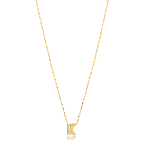 Initial Alphabet letter K Charm Zircon Stone Pendant. Wholesale 925 Sterling Silver Jewelry