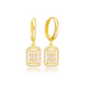 Dainty Geometric Rectangle Design Ø12mm Hoop  Dangle Earrings Turkish Wholesale 925 Silver Jewelry