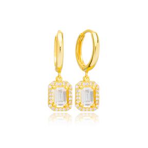 Geometric Cut Zircon Stone Design 12mm Hoop Dangle Earrings Handmade Turkish Wholesale 925 Sterling Silver Jewelry