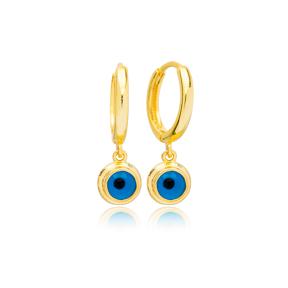 Popular Evil Eye Design 12mm Hoop Dangle Earrings Handmade Turkish Wholesale 925 Sterling Silver Jewelry