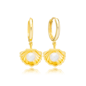 Seashell Pearl Design 13mm Hoop Dangle Earrings Handmade Turkish Wholesale 925 Sterling Silver Jewelry