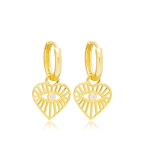 Pattern Heart Evil Eye Design 14mm Hoop Handmade Turkish Wholesale 925 Sterling Silver Dangle Earrings Jewelry