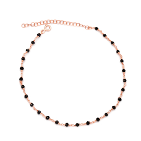 Black Stone Chain Anklet Wholesale Handcrafted Turkish 925 Sterling Silver Jewelry