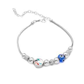 Enamel Charm Evil Eye Bracelet Wholesale 925 Sterling Silver Jewelry