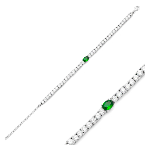 Emerald Stone Fashion Design Bracelet Turkish Wholesale Handmade 925 Sterling Silver Jewelry
