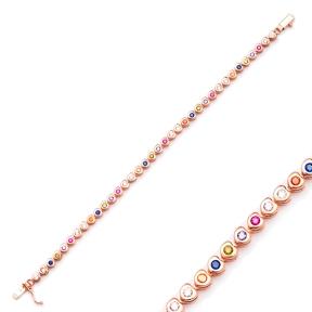 Ø4 mm Heart Shape Mix Stone Tennis Bracelet Turkish Handcrafted Wholesale 925 Sterling Silver Jewelry