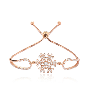 Fashionable Snowflake Design Tennis Bracelet Adjustable Wholesale 925 Sterling Silver Jewelry