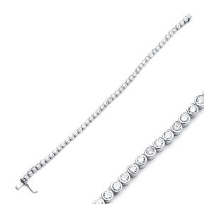 Trendy Round Design Zircon Stone Eternity Bracelet Turkish Wholesale Handmade 925 Sterling Silver Jewelry