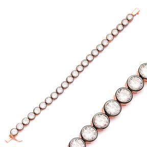 Ø7 mm Size Round Design Zircon Stone Eternity Bracelet Turkish Wholesale Handmade 925 Sterling Silver Jewelry