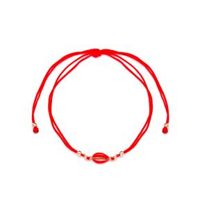 Red Color 14x6 mm Size Seashell Design Adjustable Knitting Bracelet Turkish Wholesale Handmade 925 Sterling Silver