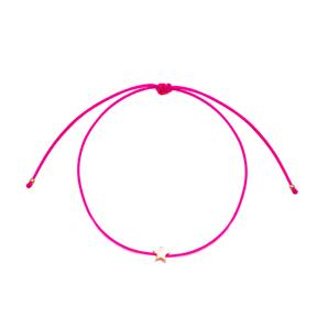 Dark Pink Color Minimalist Star Design Adjustable Knitting Bracelet Turkish Wholesale Handmade 925 Sterling Silver