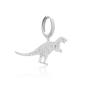 Dinosaur Design One Sided Dangle Earring, Turkish Wholesale 925 Sterling Silver Earring