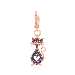 Cat Dangle Design Earring Turkish Wholesale Handmade 925 Sterling Silver Jewelry