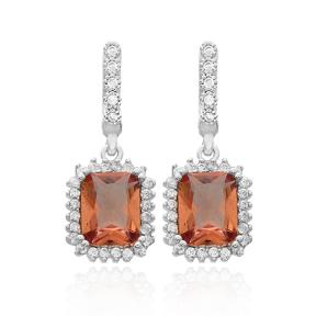 Rectangle Shape Zultanite Stone Earrings Turkish Wholesale 925 Sterling Silver Jewelry