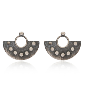 Rustic Oxidized Earring Wholesale Handmade Turkish 925 Silver Sterling Jewelry