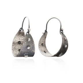 Hammered Oxidized Earring Wholesale Handmade Turkish 925 Silver Sterling Jewelry
