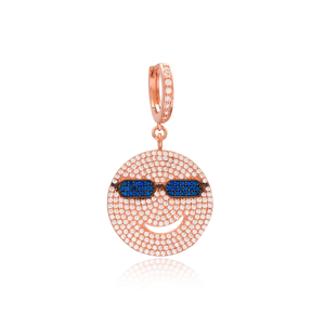 Smile Emoji Design Dangle Earrings Turkish Wholesale Handmade 925 Sterling Silver Jewelry
