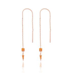 Orange Quartz Stone Threader Earrings Wholesale 925 Sterling Silver Jewelry