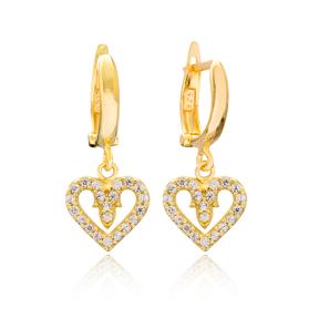 Heart Design Dangle Earrings Turkish Wholesale Handmade 925 Sterling Silver Jewelry