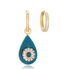 Drop Shape Design Earrings Handmade 925 Sterling Silver Jewelry