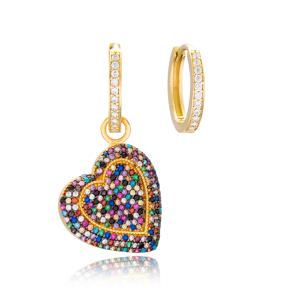 Rainbow Heart Design Earrings Handmade 925 Sterling Silver Jewelry