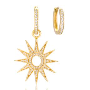 Sun Shape Earrings Handmade 925 Sterling Silver Jewelry