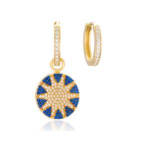 Round Shape Sun Design Earrings Handmade 925 Sterling Silver Jewelry
